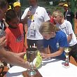 Katie and Alvaro signing the ball from the US Open
